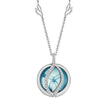 Small Blue Topaz and Diamond Pave Brooke Leaf Pendant in White Gold