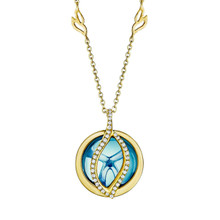 Small Brooke Leaf Blue Topaz and Pave Diamond Pendant in Yellow Gold