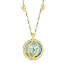 Small Blue Topaz Brooke Leaf Pendant