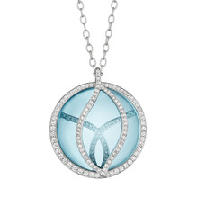 Blue Topaz and Diamond Brooke Leaf Pendant