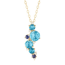Cluster Blue Topaz Waterfall Pendant