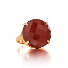 Carnelian And Diamond Pave Prong Signature Ring