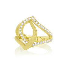 Diamond Pave Athena Ring in Yellow Gold
