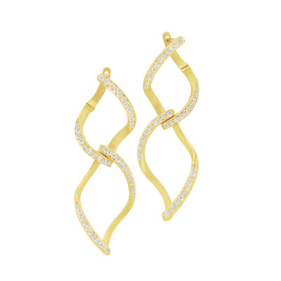 Athena Pave Diamond Double Leaf Earrings
