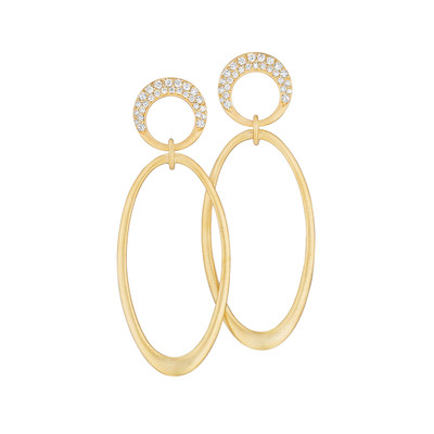 Interlinks Pave Diamond Oval Earrings