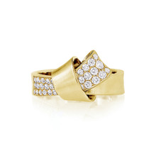 Diamond Pave Knot Ring in Yellow Gold