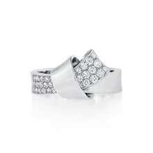 Diamond Pave Knot Ring in White Gold