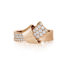 Diamond Pave Knot Ring in Rose Gold