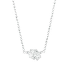 Mini Knot Pave Diamond Pendant in White Gold