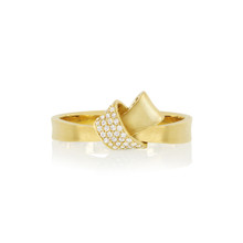 Diamond Pave Mini Knot Ring in Yellow Gold