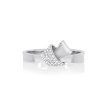 Diamond Pave Mini Knot Ring in White Gold