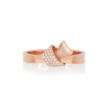 Mini Knot Pave Diamond Ring in Rose Gold