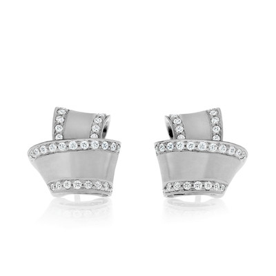 Knot Diamond Trim Stud Earrings in White Gold