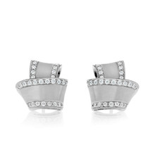 Diamond Pave Perimeter Knot Earrings in White Gold