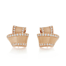 Diamond Pave Perimeter Knot Earrings in Rose Gold