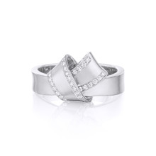 Diamond Pave Perimeter Knot Ring in White gold