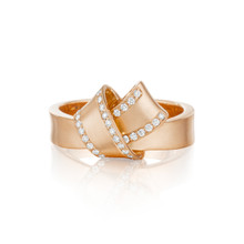 Diamond Pave Perimeter Knot Ring in Rose Gold