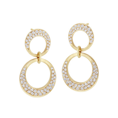 Interlinks Double Pave Diamond Earrings