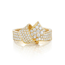Full Diamond Pave Knot Ring in Yellow Gold