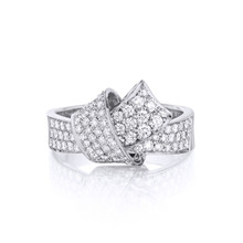 Full Diamond Pave Knot Ring in White Gold