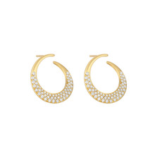 Jumbo Diamond Pave Curved Interlinks Earrings in Yellow Gold
