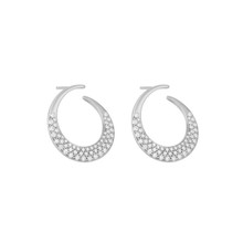 Jumbo Diamond Pave Curved Interlinks Earrings in White Gold