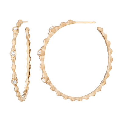 Pebbles Diamond Hoop Earrings in Rose Gold
