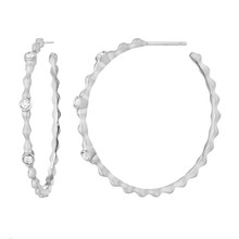 Pebbles Diamond Hoop Earrings in White Gold