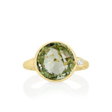 Green Quartz and Diamond Large Stack Ring