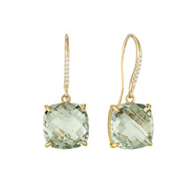 Green Quartz And Diamond Pave Cushion Signature Earrings