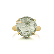 Green Quartz and Diamond Pave Leaf Signature Ring
