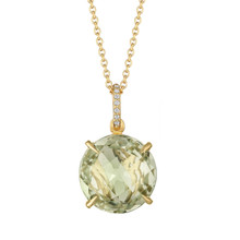 Green Quartz and Diamond Pave Signature Pendant
