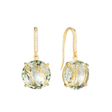 Green Quartz and Diamond Pave Signature Earrings
