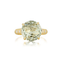 Green Quartz and Diamond Signature Ring