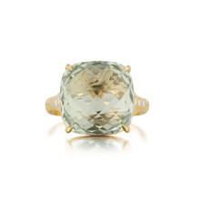Green Quartz Cushion And Diamond Signature Ring