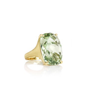 Green Quartz Jumbo Elongated Cushion Signature Ring