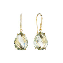 Green Quartz Pear and Diamond Pave Signature Earrings