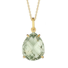 Green Quartz Pear Signature Pendant