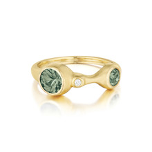 Double Green Sapphire and Diamond Stack Ring