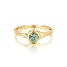 Green Sapphire and Diamond Accent Stack Ring
