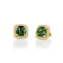 Carey Green Tourmaline Cushion Earrings