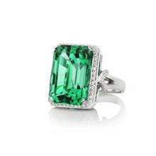 Green Tourmaline and Diamond Pave After Dark Ring
