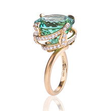 Green Tourmaline And Diamond Pave Spiral After Dark Ring