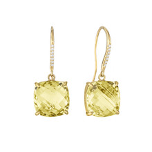 Lemon Quartz And Diamond Pave Cushion Signature Earrings