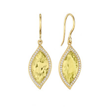 Leaf Lemon Quartz and Pave Diamond Earrings