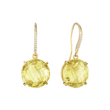 Lemon Quartz and Diamond Pave Signature Earrings