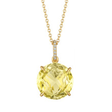 Lemon Quartz and Diamond Pave Signature Pendant