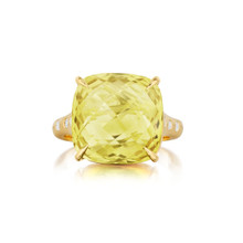 Lemon Quartz Cushion And Diamond Signature Ring