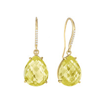 Lemon Quartz Pear and Diamond Pave Signature Earrings