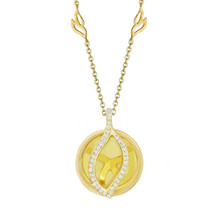 Small Brooke Leaf Lemon Quartz and Pave Diamond Pendant